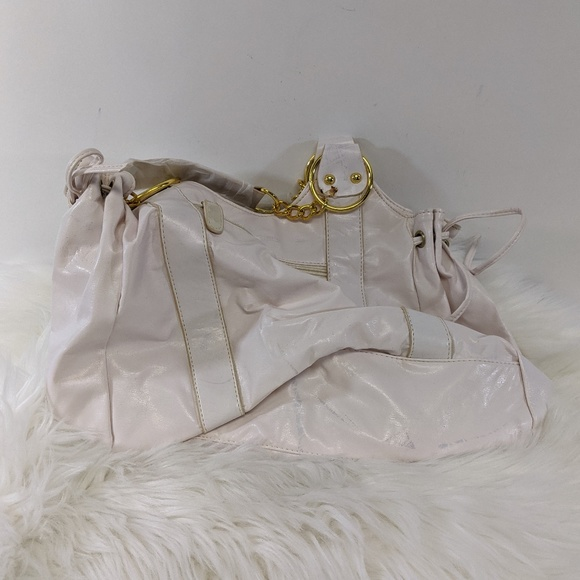 White with Gold Accent Shoulder Bag